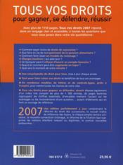 Tous vos droits 2007 - 4ème de couverture - Format classique