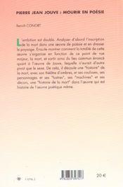 Pierre-Jean Jouve ; Mourir En Poesie - 4ème de couverture - Format classique