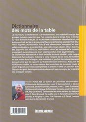 Dictionnaire Des Mots De La Table - 4ème de couverture - Format classique