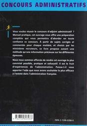 Adjoint Administratif Categorie C Tous Ministeres Fonction Publique D'Etat Concours Administratifs - 4ème de couverture - Format classique