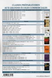 Problemes Corriges De Mathematiques Poses Aux Concours Hec Essec Ecricome Esc Option Technologie - 4ème de couverture - Format classique