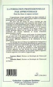 La Formation Professionnelle Par Apprentissage - 4ème de couverture - Format classique