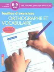 Feuilles d'exercices ; orthographe et vocabulaire - Intérieur - Format classique