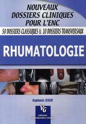 Rhumatologie - Couverture - Format classique