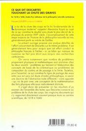 Ce Que Dit Descartes Touchant La Chute Des Graves - 4ème de couverture - Format classique