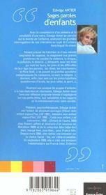 Sages Paroles D'Enfants - 4ème de couverture - Format classique