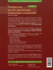 Situations-jeux pour des apprentissages mathématiques en maternelle - 4ème de couverture - Format classique