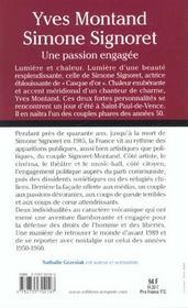Simone Signoret Et Yves Montand ; L'Amour Et L'Engagement - 4ème de couverture - Format classique
