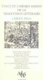 Vingt Et Uniemes Assises De La Traduction Litteraire - Intérieur - Format classique