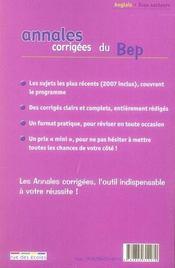 Annales Corrigees T.26 ; Anglais ; Bep Tous Secteurs (Edition 2008) - 4ème de couverture - Format classique