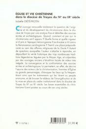 Eglise Et Vie Chretienne Dans Le Diocese De Troyes Du Ive Au Ixe Siecle - 4ème de couverture - Format classique