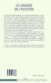 Le langage de l'intuition ; pour une épistemologie du singulier - 4ème de couverture - Format classique