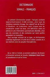 Dictionnaire Somali-Francais - 4ème de couverture - Format classique