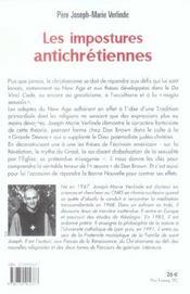 Les Impostures Antichretiennes - 4ème de couverture - Format classique