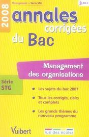 Annales Corrigees T.27 ; Management Des Organisations ; Terminale Stg (Edition 2008) - Intérieur - Format classique