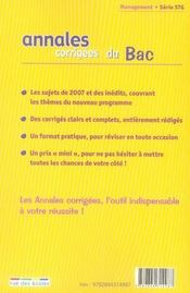 Annales Corrigees T.27 ; Management Des Organisations ; Terminale Stg (Edition 2008) - 4ème de couverture - Format classique