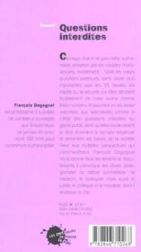 Questions Interdites - 4ème de couverture - Format classique