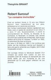 Robert Surcouf Le Corsaire Invincible - 4ème de couverture - Format classique