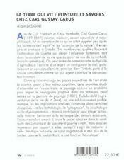 La Terre Qui Vit ; Peinture Et Savoir Chez Carl Gustave Carus - 4ème de couverture - Format classique