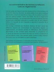 Le Commentaire De Textes Juridiques Lois Et Reglements 2e Edition - 4ème de couverture - Format classique