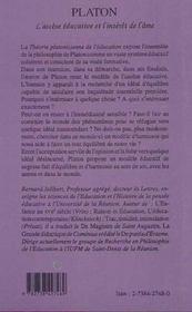 Platon ; L'Ascese Educative Et L'Interet De L'Ame - 4ème de couverture - Format classique