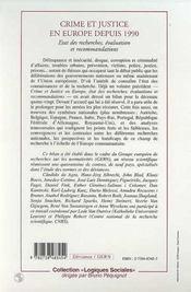 Crime Et Justice En Europe Depuis 1990 ; Etat Des Recherches, Evaluation Et Recommandations - 4ème de couverture - Format classique
