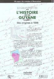 L'Histoire De La Guyane Tome 1 - 4ème de couverture - Format classique