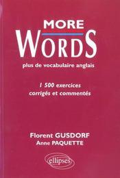 More Words Plus De Vocabulaire Anglais 1500 Exercices Corriges Et Commentes - Intérieur - Format classique