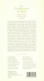 Le promeneur de Paris - 4ème de couverture - Format classique