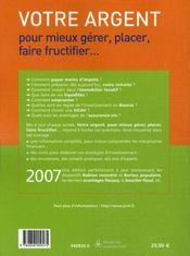 Votre argent 2007 - 4ème de couverture - Format classique