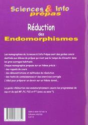 Reduction Des Endomorphismes - 4ème de couverture - Format classique