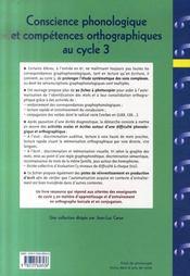 Conscience phonologique et compétences orthographiques au cycle 3 - 4ème de couverture - Format classique