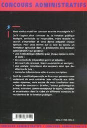 Les Concours De Categorie A Fonction Publique Concours Administratifs Presentation Methodologie - 4ème de couverture - Format classique
