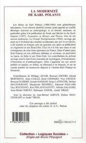 La Modernite De Karl Polanyi - 4ème de couverture - Format classique