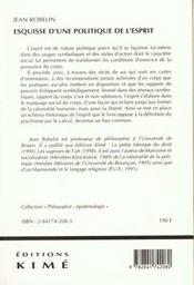 Esquisse D'Une Politique De L'Esprit - 4ème de couverture - Format classique