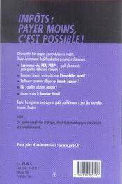 Impôts : payer moins c'est possible (édition 2007) - 4ème de couverture - Format classique