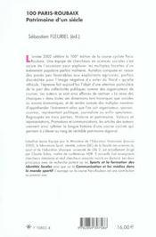 100 Paris Roubaix ; Patrimoine D'Un Siecle - 4ème de couverture - Format classique