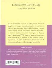 Lumieres Sur Les Couleurs Le Regard Du Physicien No11 - 4ème de couverture - Format classique