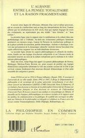 L'Albanie Entre La Pensee Totalitaire Et La Raison Fragmentee - 4ème de couverture - Format classique