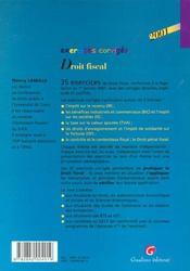 Exercices Coriiges De Droit Fiscal 2001 - 4ème de couverture - Format classique