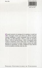 Esthétique du motif - 4ème de couverture - Format classique