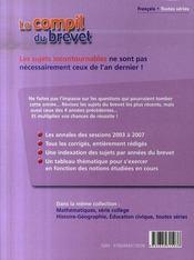 Français ; brevet 2008 - 4ème de couverture - Format classique