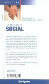 Les metiers du social (4e edition) - 4ème de couverture - Format classique