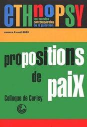 Revue Ethnopsychiatrie N.4 ; Propositions De Paix - Couverture - Format classique