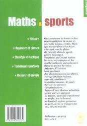 Maths Et Sports - Tangente - 4ème de couverture - Format classique