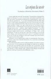 Enjeux Du Savoir - 4ème de couverture - Format classique