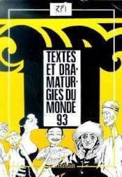 Textes et dramaturgies du monde 93 - Couverture - Format classique