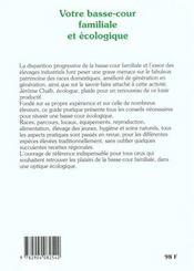 Basse cour familiale et ecologique (votre) - 4ème de couverture - Format classique