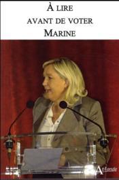 À lire avant de voter Marine - Couverture - Format classique