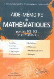 Aide-mémoire de mathématiques pour les ECS-ECE 1ère et 2e année - Intérieur - Format classique